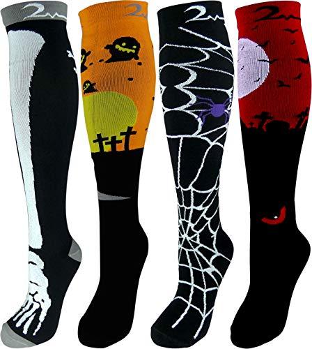 Men Dress Up Halloween (4 Pair Small/Medium Extra Soft Premium Quality Colorful Moderate Graduated Compression Socks 15-20 mmHg. Nurses, Running, Travel, Knee-High, Mens & Womens Comfort Blend. Halloween Dress Up)