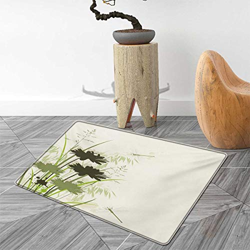 Dragonfly Bath Mats for Bathroom Lake Flowers Leaves on Abstract Backdrop Image Bird Like Bugs Door Mats for Inside Non Slip Backing 2'x3' Dark Green and Pale Green