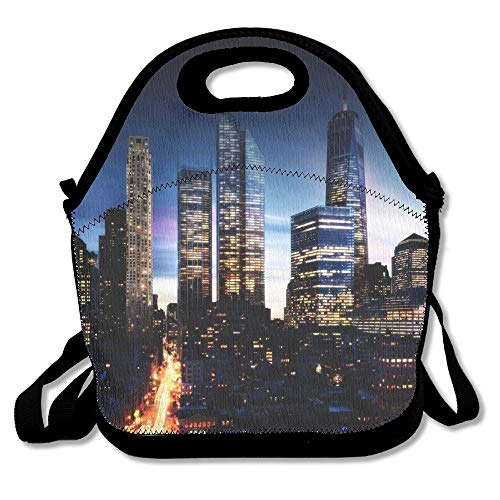 Buildings Of Kansas City Manhattan Night Landscape Convenient Lunch Bags Tote For Travel School Picnic Grocery Bags Outdoor Picnic Bag