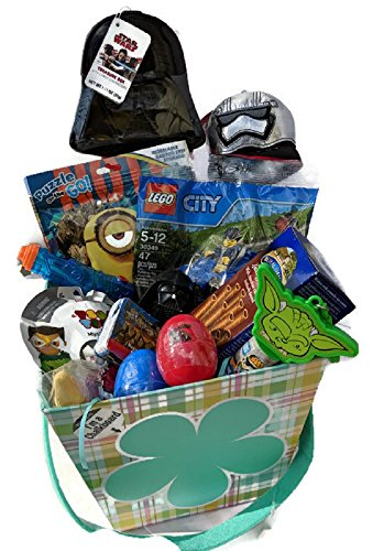 GIFT BASKET FOR BOYS WHO LIKES SUPERHEROS ~ STAR WARS DARTH VADER, LEGO CITY, MINIONS, MARVEL AVENGERS TOYS, MINI WATER GUN, FIGURALS EGGS, CHOCOLATE WAFERS, CANDY ~ PERFECT FOR VALENTINES DAY, EASTER