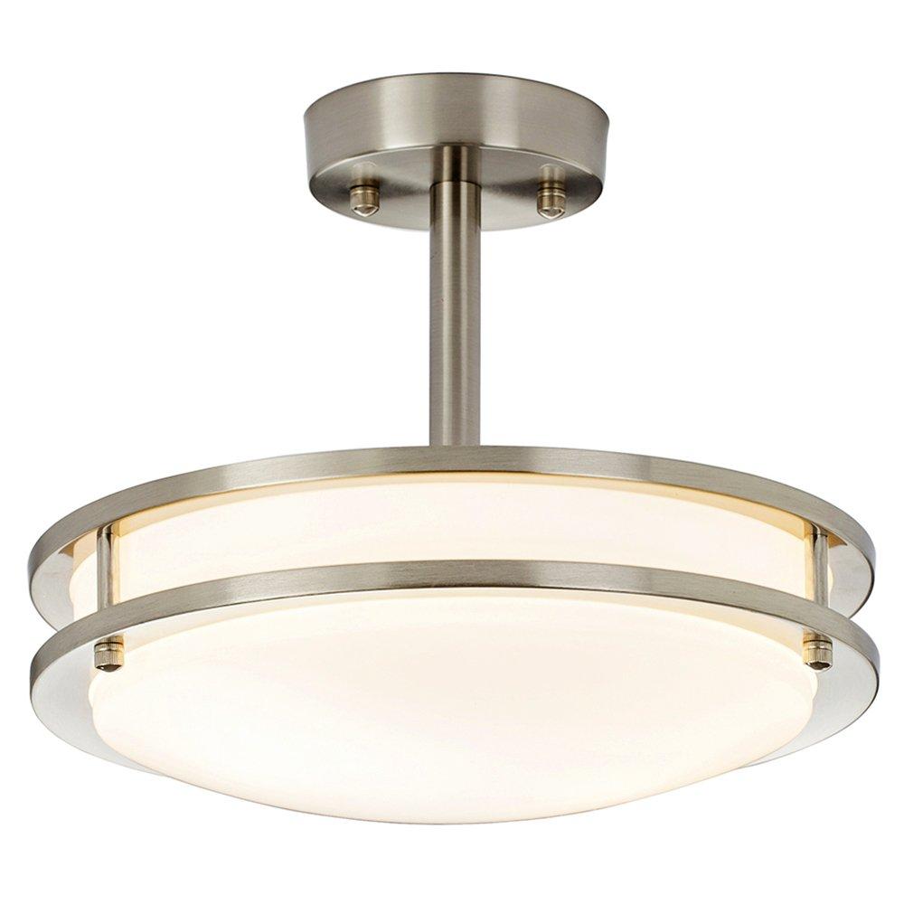 SOTTAE 11.8'' Modern Brushed Nickel Kitchen Bathroom Dining Room Living Room Flush Mount Ceiling Light, Ceiling Lamp For Corridor