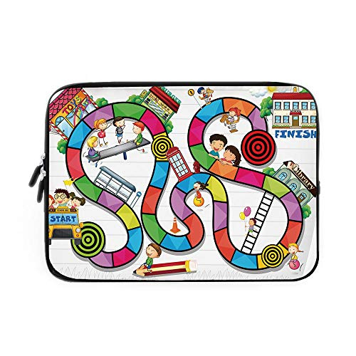 Board Game Laptop Sleeve Bag,Neoprene Sleeve Case/Game on Notebook Paper Kids and Building School Route Fun Challenge Enjoyment Decorative/for Apple MacBook Air Samsung Google Acer HP DELL Le