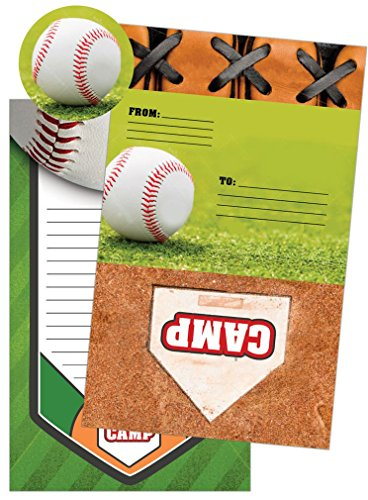 iscream Baseball Camp Pack of 8 Fold-over Cards with Flip Sticker Seals