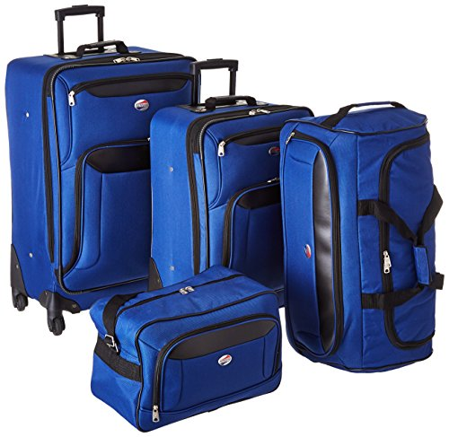 American Tourister Brookfield 4pc Set (bb/wd/sp21/sp25)), Navy/Black
