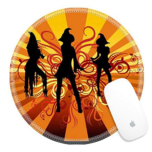 Luxlady Round Gaming Mousepad Three groovy witches dancing with 70s retro background and scrolls IMAGE ID - Groovy Round