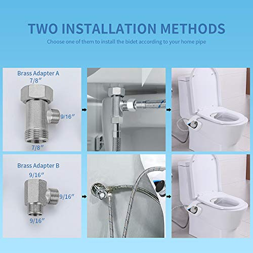 Aisoso Bidet Toilet Attachment with Self Cleaning Dual Nozzles and Explosion Proof Tube, Non Electric Fresh Water Spray Adjustable Pressure, Solid Brass T-Adaptor for Easy Installation
