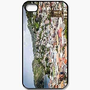 Protective Case Back Cover For iPhone 4 4S Case Building Coast Landscape Grenada Black