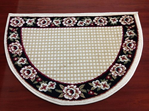 Fireplace Hearth Dimensions (IMS 28525618672434 Small Hearth Rug Floral Border Lodge Cabin Fireplace Mat44; Black - 22 x 34 in.)