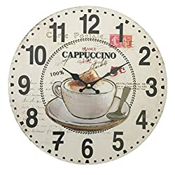 Creative Motion 22026-7 Wall Clock with Cappuccino and Coffee Cup Design