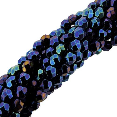 Czech Faceted Fp Glass Beads - Preciosa Czech Fire Polished Faceted Glass Beads Round 4mm, 100pcs, Blue Iris