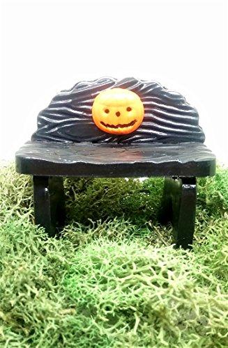 Orange Miniature (Fairy garden accessories. Miniature Halloween bench with jack-o-lantern.)