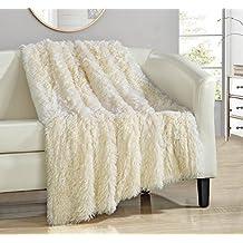 "Chic Home Elana Shaggy Faux Fur Supersoft Ultra Plush Decorative Throw Blanket, 50 x 60"", Beige"