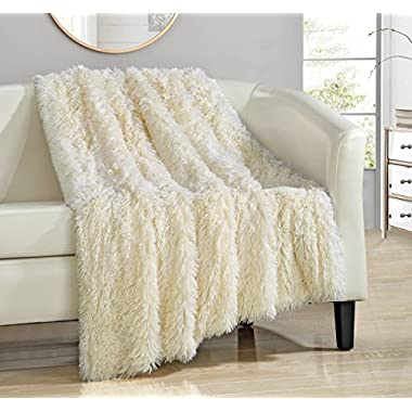 Chic Home Elana Shaggy Faux Fur Supersoft Ultra Plush Decorative Throw Blanket, 50 x 60 , Beige
