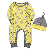 Newborn Baby Boys Girls Yellow Airplane Pattern Outfit Clothes Jumpsuit Rompe...