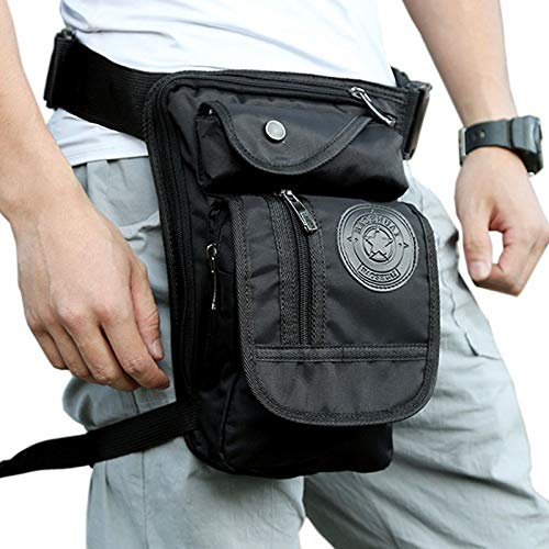 Motorcycle Rider Leg Bag Hip Drop Men Nylon Tactical Military Waist Pack Black