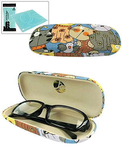 JAVOedge Cartoon Cat Pattern (Blue) Eyeglass / Reading Glass Hard Case and Bonus Microfiber Cleaning Cloth