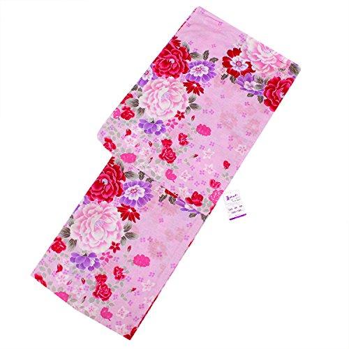 決めますサーフィンタールきもの京香 浴衣 レディース 仕立上がり 大人 女性用 女物 ゆかた ピンク 花 牡丹 バラ 薔薇