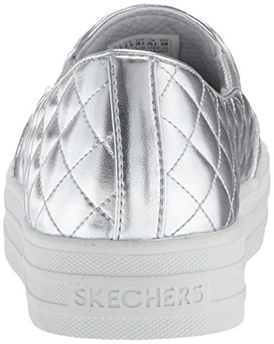 Skechers Damen Slip on Silver Silber Duvet Double up Sneaker frZPFqfwx