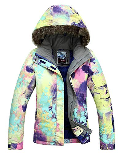APTRO Women's High Windproof Technology Colorfull Printed Ski Jacket Style #21 Size L (Womens Skis Downhill)