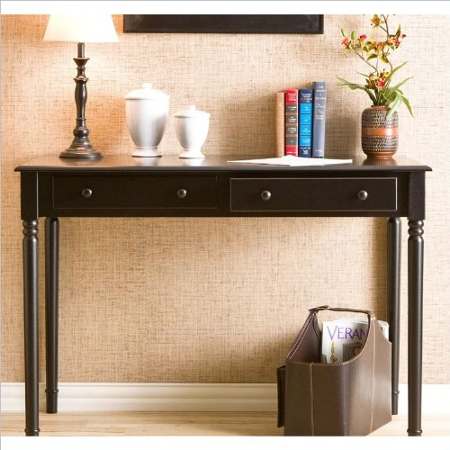 holly martin parker 2 drawer writing desk in satin black - Black Writing Desk