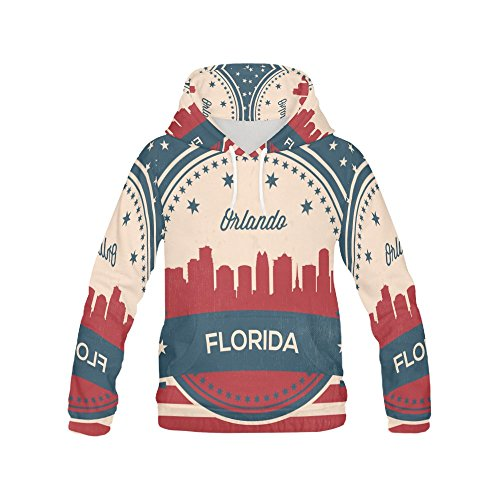 Vintage American Flag Florida State Orlando Skyline Women's 3D Printed Hoodie - Florida Bed Set