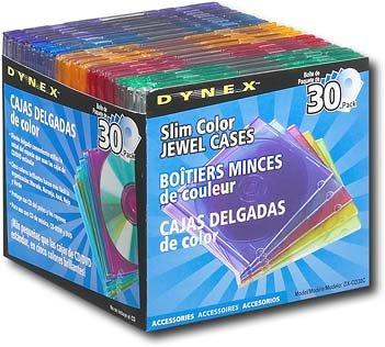 Dynex DX-CD30C - Storage CD jewel case - blue, purple, green, orange, pink (pack of 30 (Pink Cd Jewel Cases)