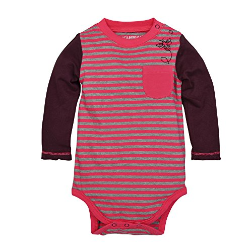 Burt's Bees Baby Baby Girls' Long Sleeve Organic Bodysuit, Magenta Maple Stripe, 24 Months