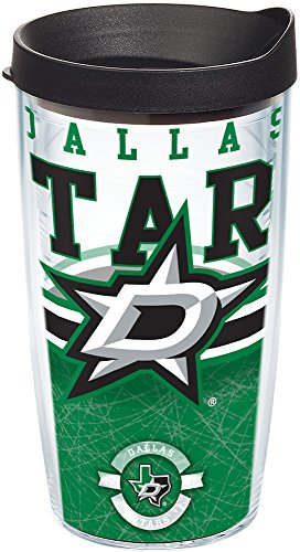 Tervis 1165384 NHL Dallas Stars Core Tumbler with Wrap and Black Lid 16oz, - Clear Star Lid