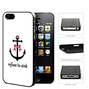 Refuse to Sink Black Anchor with Pink Bow White Back iPhone 4 4s Hard Snap on Plastic Cell Phone Case Cover