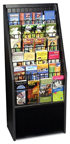 12 or 24-Pocket Literature Rack Brochure Holder Stand for Floor - Black Melamine with Wire Pockets by Displays2go