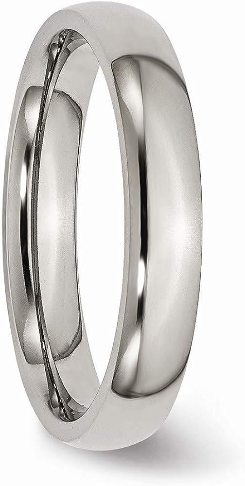 Amazon.com: Titanium Polished Comfort Fit 4mm Wedding Band ...