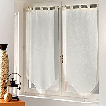 Luminea Pair of Voile Curtains with Tassels 90 x 120 cm Ivory ...