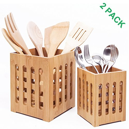 Large Utensil (Well Weng Extra Large Bamboo Utensil Holder with Drainage Holes - Set of 2 - Utensil Crocks(5.7X7 Inch))