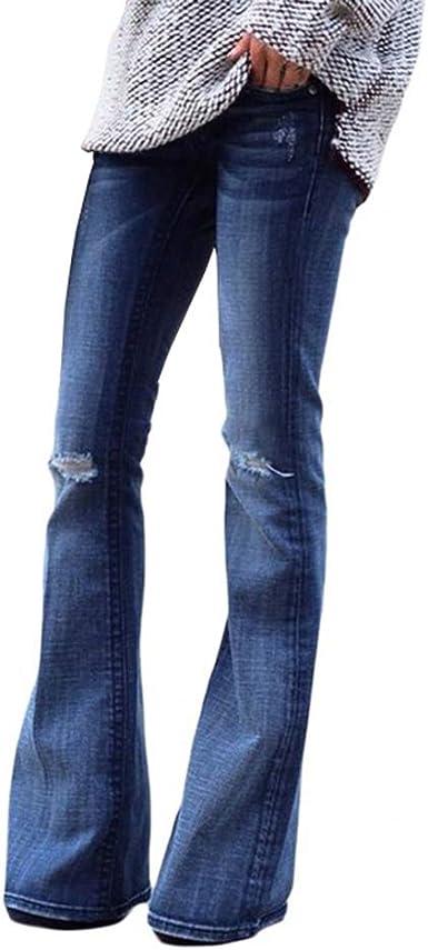 Mujer Vaqueros Pantalones Acampanados Elegante Cintura Baja Pantalones De Pierna Ancha Rasgado Agujero Jeans Casual Pantalones De Campana Amazon Es Ropa Y Accesorios