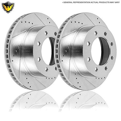 Drill Slot Rear Brake Rotors For Ford E350 Econoline Club Wagon Super Duty - Duralo 152-2793 New