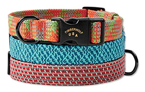 Orvis Braided Collar and Climbing Rope Leash/Braided Collar, Gray/Red, M/L ()