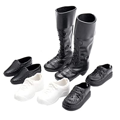 xxiaoTHAWxe 4Pairs Mini Plastic Shoes High Boots for 12inch Doll Boyfriend Accessory Toy - Home Decoration - Best Educational Birthday Halloween for Boys Girls Friends Adults: Toys & Games