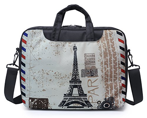 Paris Computer Messenger - Meffort Inc 13 13.3 Inch Laptop Computer Shoulder & Hand Carrying Messenger Bag Briefcase - Paris Design