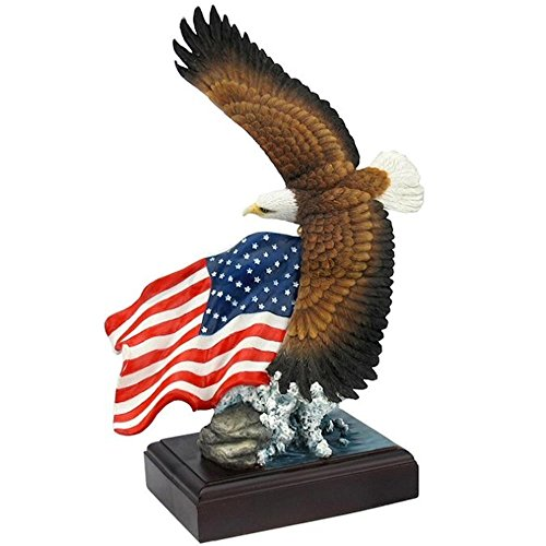 Veronese Design American Pride - Soaring Bald Eagle with American Flag (Flag Sculpture)