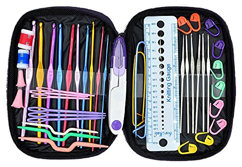 Crochet Hooks Set - Napoer 49pcs Mixed Aluminum Handle Crochet Hook Knitting Knit Needle with PU Case, Smooth Needles for Superior Results DIY Knitting Tools Set, Suitable for Crochet Lover