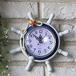 Clock Retro - Retro Large Wall Clock Anchor Saat Needle Home Decoration Hanging Mediterranean Style Wood Round - Crystal Mirrors Glass Hands Oval Rectangle Paris Tree Theme X-large Noise Kits Mos