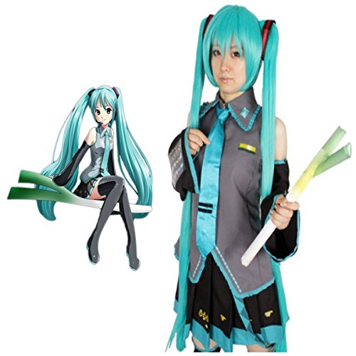 Ainiel Unisex Anime Cosplay Costume Dress Full Set with Wigs (L) - Miku Hatsune Cosplay Costume