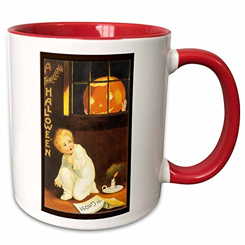 3dRose BLN Vintage Halloween - Vintage A Thrilling Halloween with a Scared Child looking out the Window at a Pumpkin - 15oz Two-Tone Red Mug -