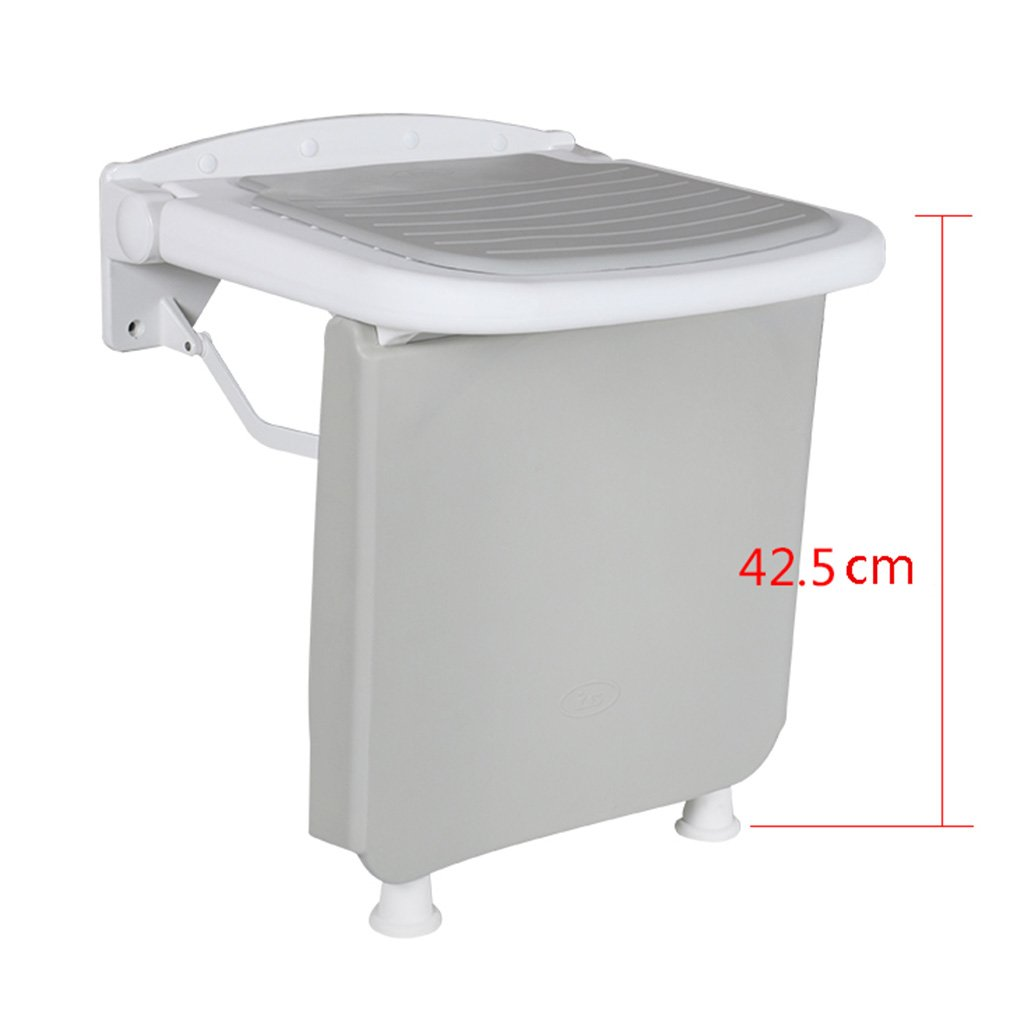 Upgrade baffle Elderly Disabled Anti-Slip Shower Seat Stool with Legs Stool Foldable Wall Shower Stools ABS Wall Mounted Shower Seat Stool Folding Change Shoes Stool, 250kg