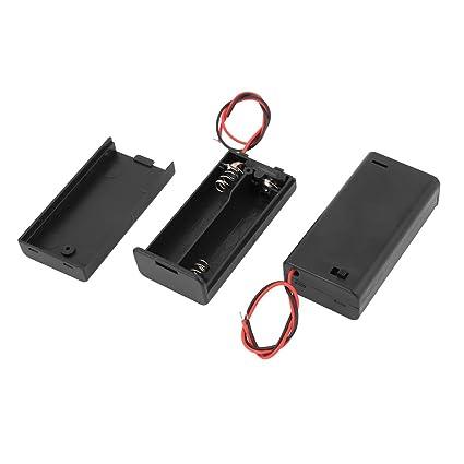 sourcingmap® 2pcs soporte de plástico de la batería con interruptor de encendido/apagado durante