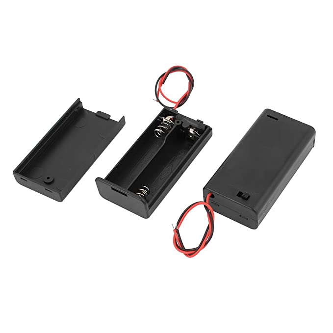 sourcing map 2 Pcs 3V Power Supply 2 x AAA Battery Holder Enclosed Case Box Switch Wire Lead