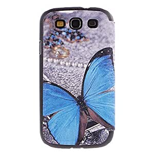 xiao Blue Butterfly Drawing Pattern PU Leather Face Plastic Hard Back Cover Pouches for Samsung Galaxy S3 I9300