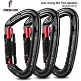 FresKaro 3pcs Climbing Carabiners-Auto Locking Carabiner Clips,Twist Lock and Heavy Duty, CE Certified for Climbing and Rappelling, Carabiner Dog Leash, D Shaped 3.93 Inch, Large Size, Black