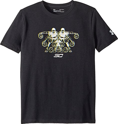 Under Armour Kids Boy's Steph Curry 30 3D Dribbler Short Sleeve Tee (Big Kids) Black/Royal/White (Black Collection Under Armour)