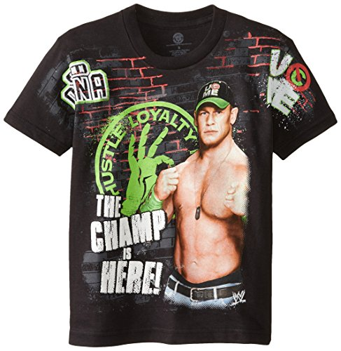 WWE Big Boys' John Cena T-Shirt Shirt, Black, Medium / 10/12